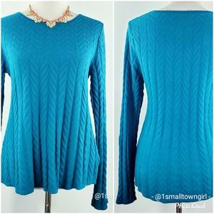 Valerie Stevens cable knit swing sweater S blue